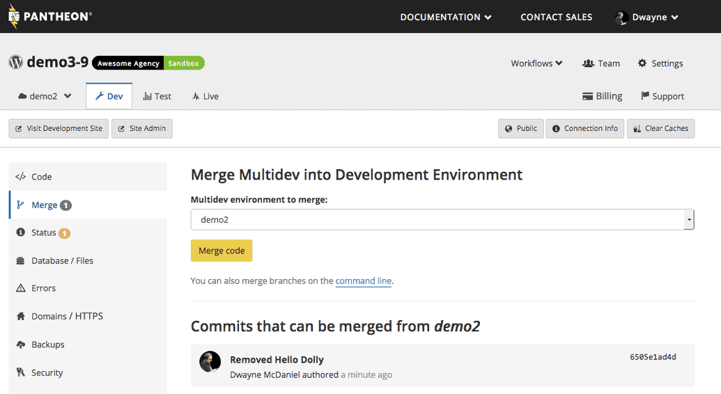 Location of Multidev merge button