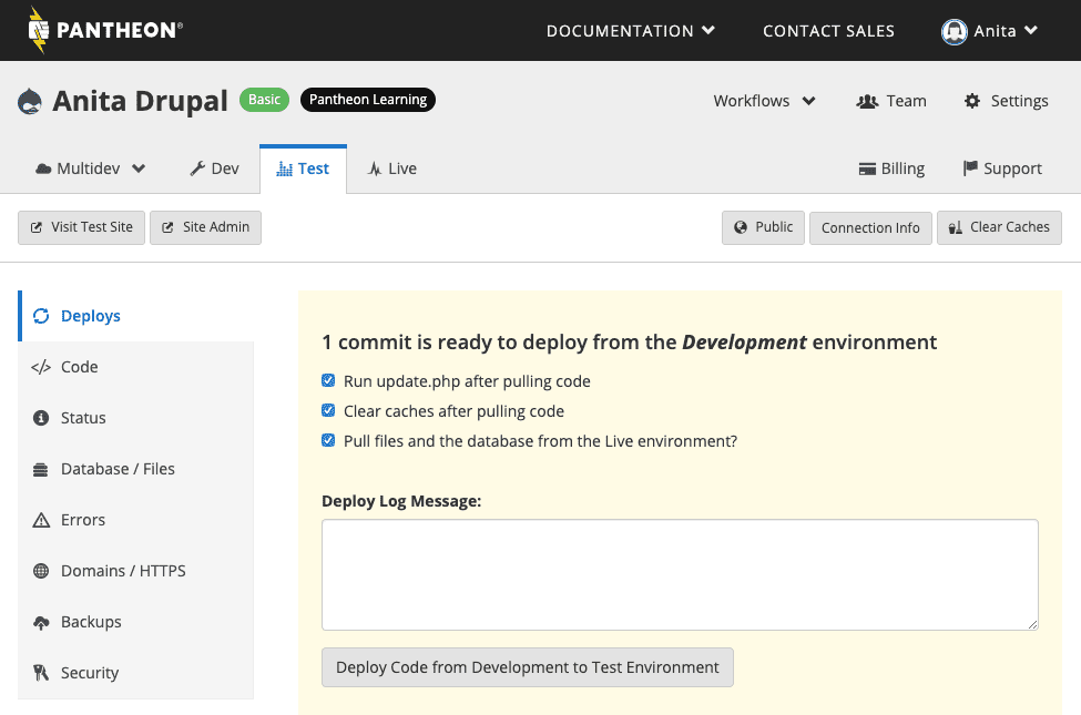 Site dashboard, test environment, Deploys section