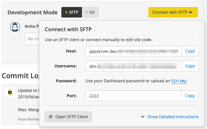 SFTP Connection Data