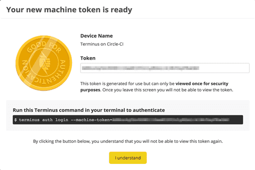 Machine token ready modal
