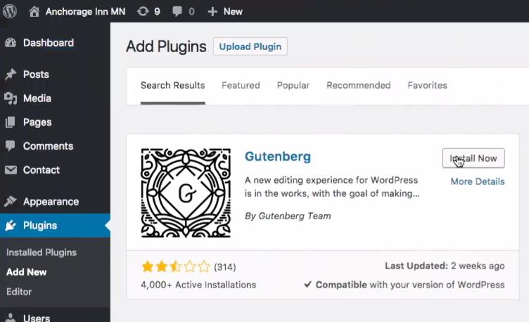 Gutenberg plugin install