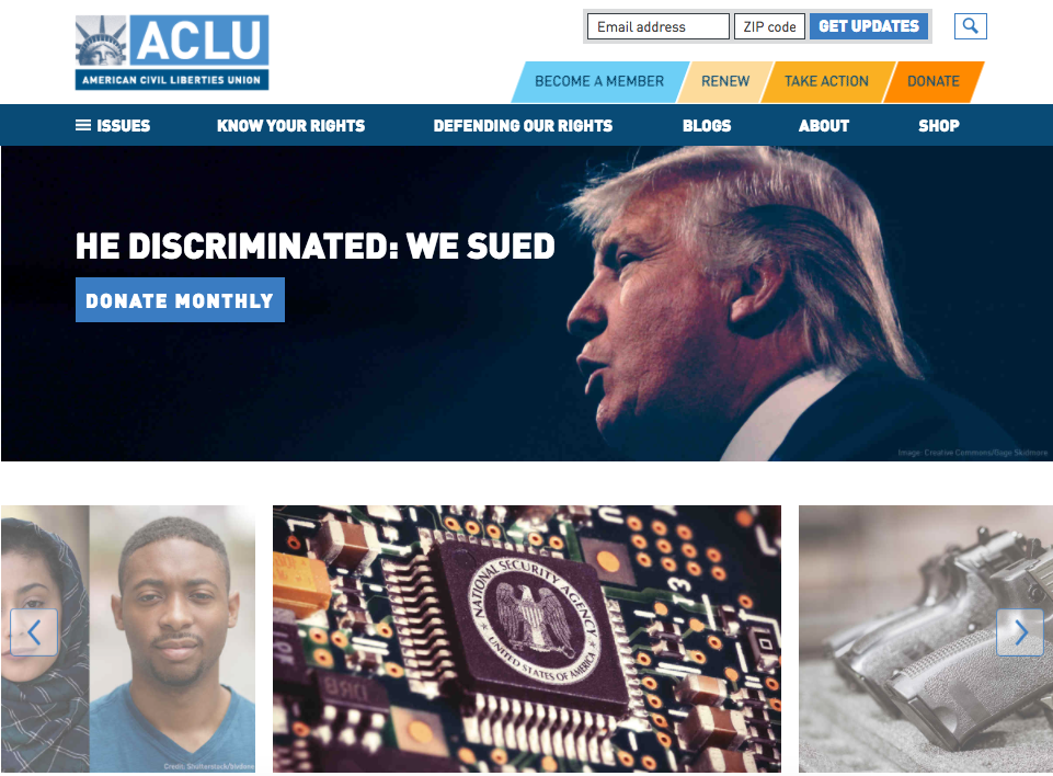 ACLU website screenshot