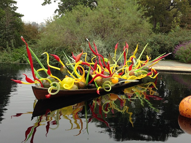 A boat filled with glass artwork