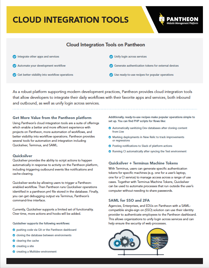 Try Pantheon. Cloud Integration Tools ...