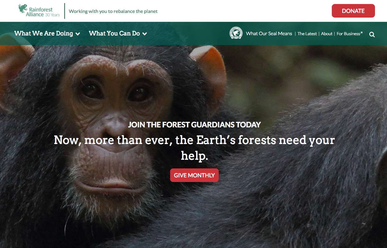 Rainforest Alliance homepage