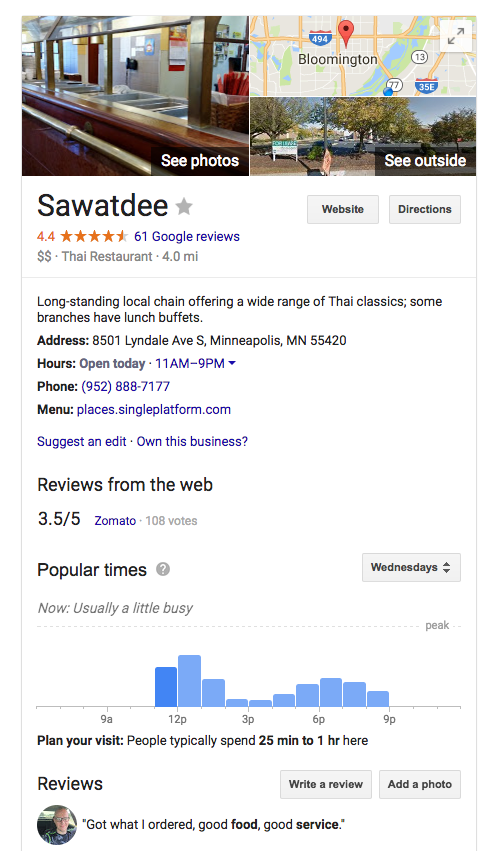 Sawatdee Google listing