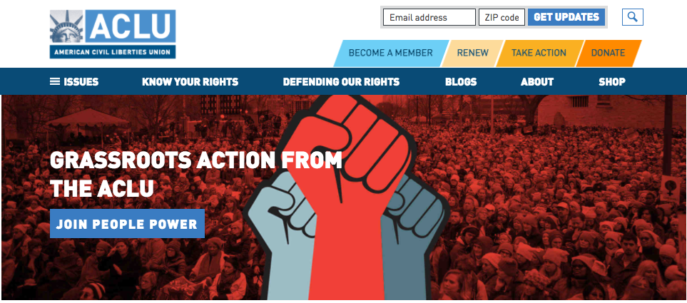 ACLU homepage screenshot