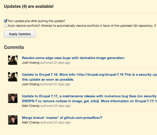 Upstream commits now link to their commit page on Github
