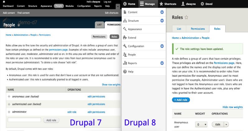 Drupal 7 vs Drupal 8 People Role View