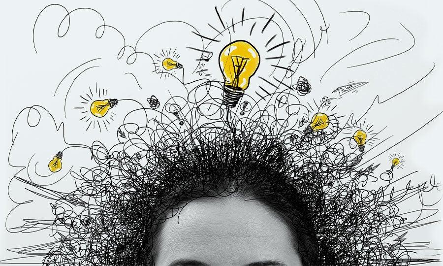 Head with lightbulbs in the hair