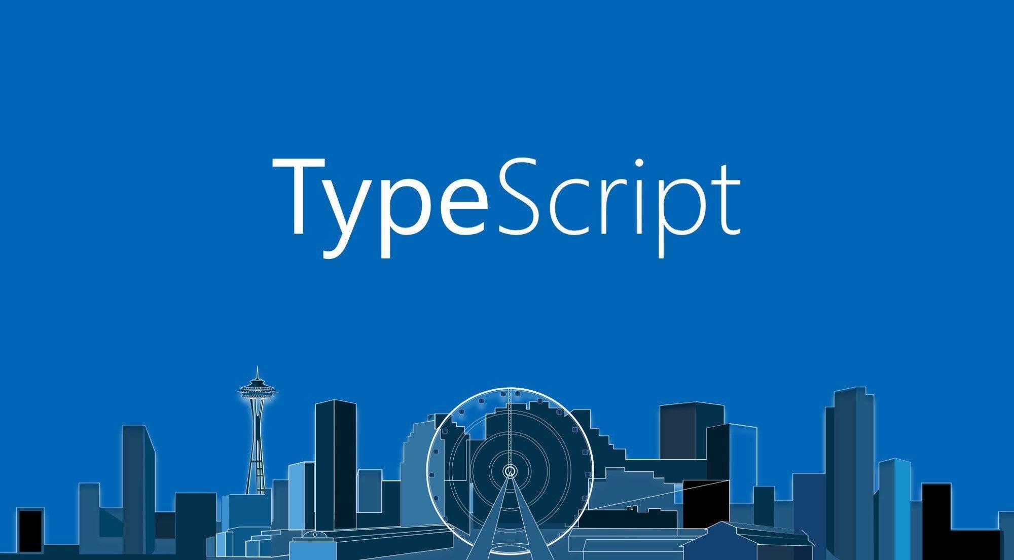 TypeScript Logo above the Seattle Skyline