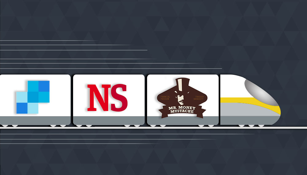 fast train with logos