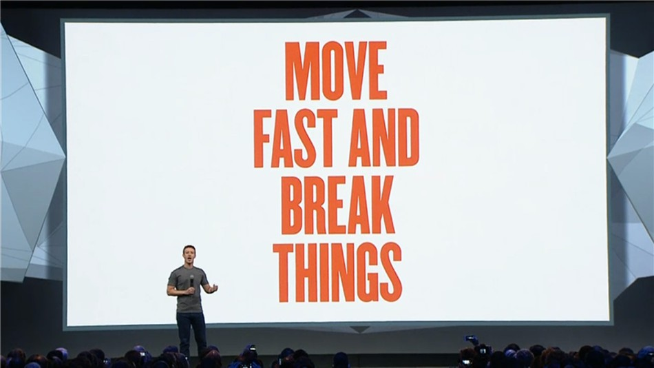 Move fast and break things presentation slide
