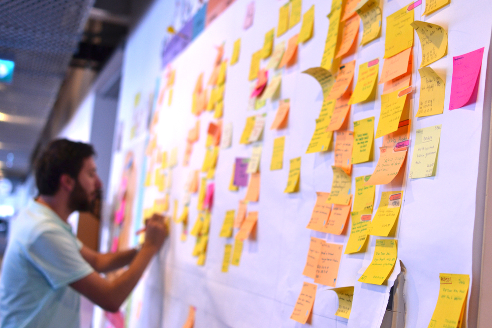 White board with post-it notes