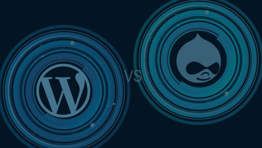 WordPress vs Drupal logos