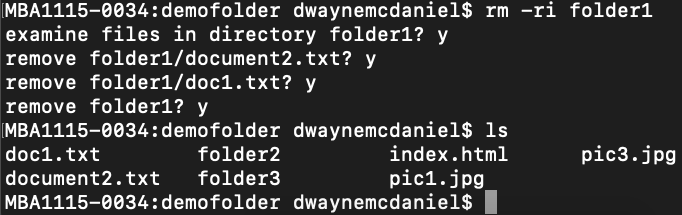 terminal window displaying the remove folder command 'rm -ri folder1', then answering y to all the remove prompts and an ls to show folder no longer there