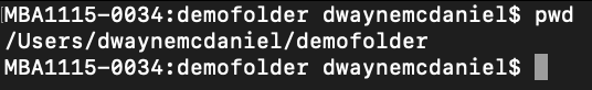 terminal window displaying the pwd command revealing the full path /Users/dwaynemcdaniel/demofolder