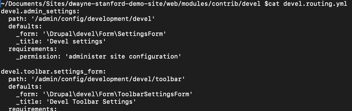 Routing for the config module