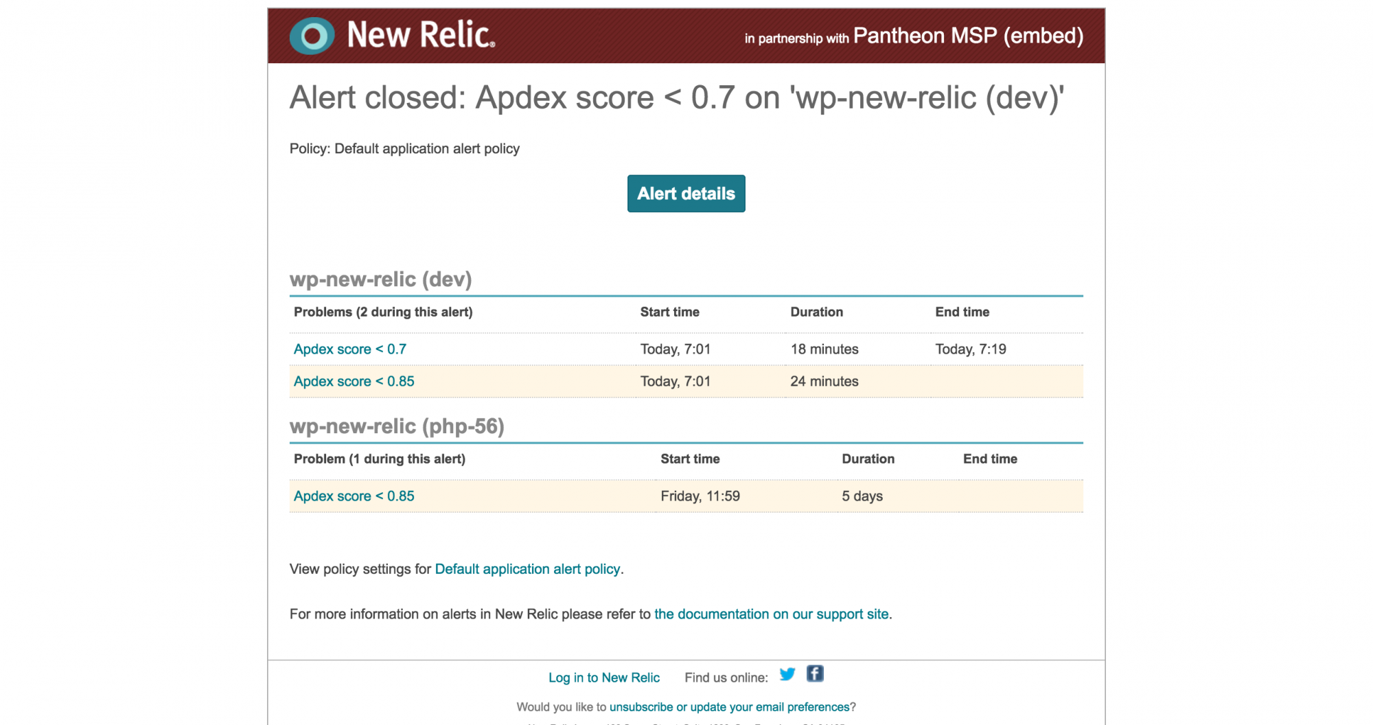 New Relic alert email