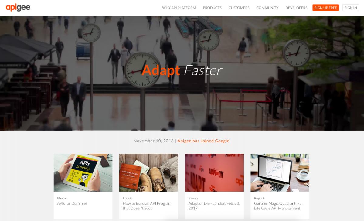 Apigee website screenshot