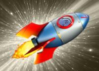 A rocket ship blasting off
