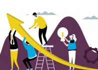 Blog Illustration: Abstract people holding a large yellow arrow