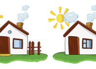 Two nearly identical images of a house with the sun and clouds