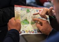 Close up of a tour map