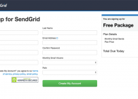 sendgrid signup screenshot
