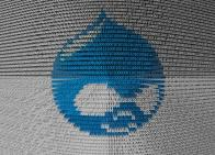 Drupal logo w/ 0s and 1s overlay