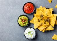 Chips and 3 types of dip