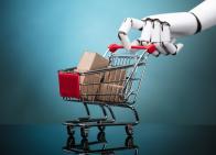 Robotic hand pushing a shopping cart