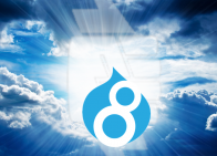 Drupal 8 Logo in Clouds