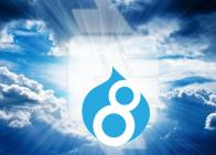 Drupal 8 Logo in Clouds