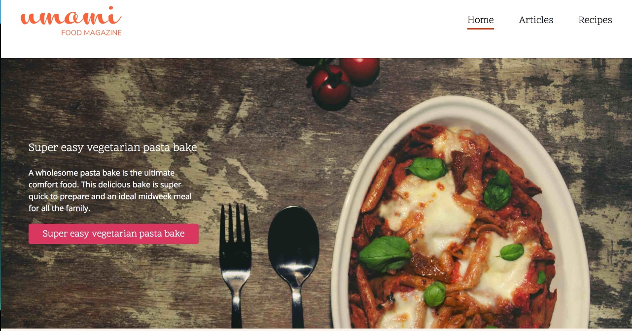 Umami Food Magazine homepage screenshot
